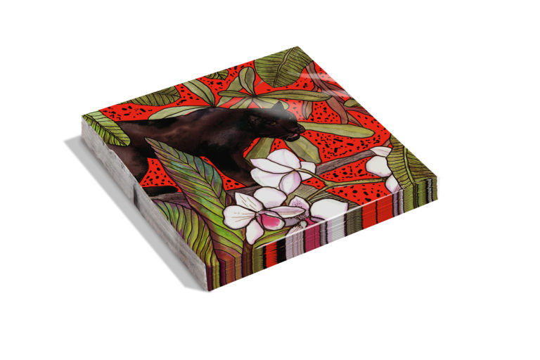 Red Panther Christmas napkins